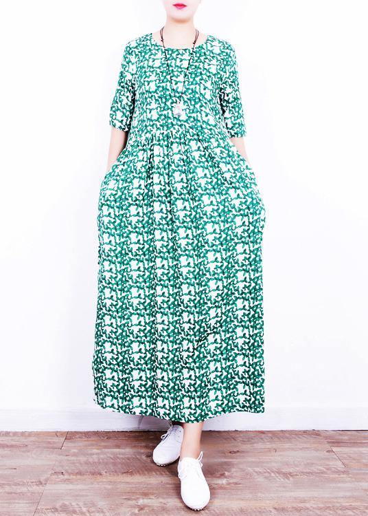 Unique o neck Cinched linen summer clothes Neckline green print Dresses
