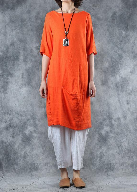 Unique orange linen tops women cotton o neck mid long tops
