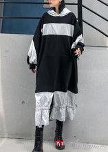 Load image into Gallery viewer, Unique patchwork hooded cotton Tunic Fashion Ideas black Plus Size Dress