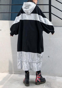 Unique patchwork hooded cotton Tunic Fashion Ideas black Plus Size Dress