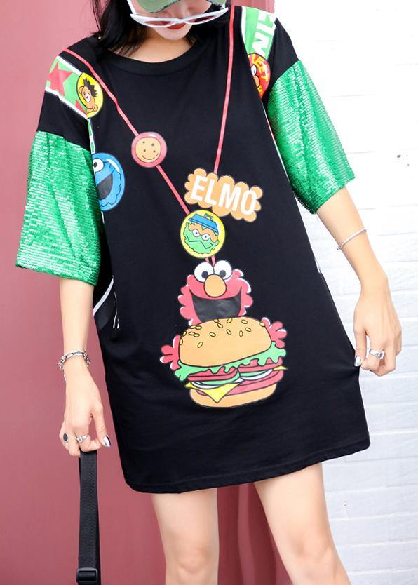 Unique prints cotton Blouse Sewing black o neck blouses summer