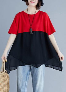 Unique red chiffon o neck patchwork silhouette summer blouse