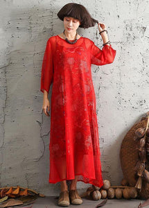 Unique red silk clothes side open A Line summer Dresses