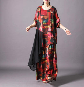 Unique silk clothes Omychic Print Spliced Irregular Blouse And Wide Leg Pants