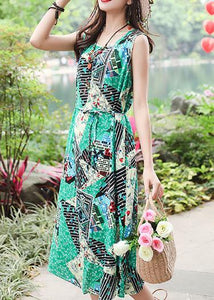 Unique sleeveless tie waist cotton quilting clothes Fashion Ideas green print long Dresses summer