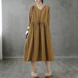 Unique stand collar drawstring fall dresses yellow print Art Dresses