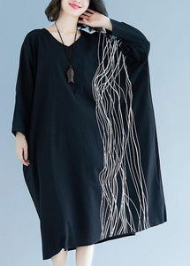 Unique v neck baggy cotton Tunics Tutorials black cotton robes Dress