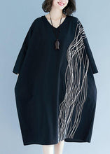 Load image into Gallery viewer, Unique v neck baggy cotton Tunics Tutorials black cotton robes Dress