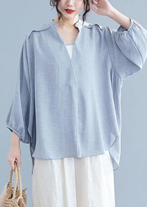 Unique v neck batwing sleeve cotton linen tops women gray Plus Size blouses summer