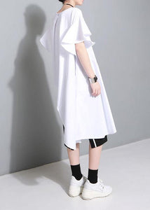 Unique white Cotton clothes Petal Sleeve baggy side open summer Dress