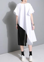 Load image into Gallery viewer, Unique white Cotton clothes Petal Sleeve baggy side open summer Dress
