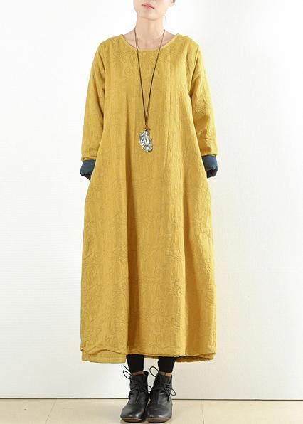 Unique yellow cotton clothes Women thick warm  Maxi o neck Dresses