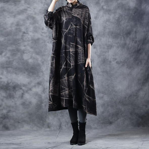 Vintage Black High Neck Cotton Base Baggy Dresses For Women