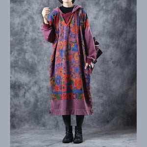 Vintage Loose Hoodie Print Long Fleece Dresses