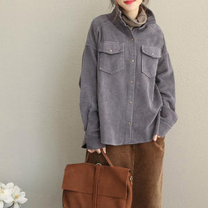 Vintage Pink and Gray Fall Loose Corduroy Short Coat For Women