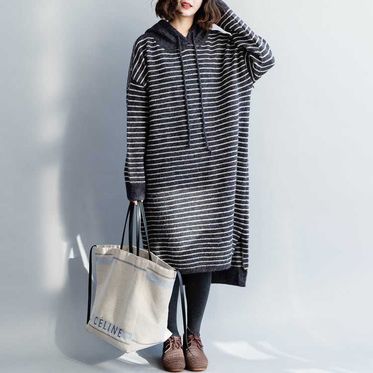 Vintage Sweater knit top pattern Moda hooded gray striped Mujer knit dress
