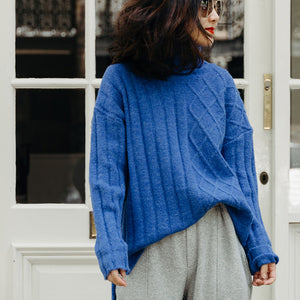 Vintage Sweater weather Beautiful spring blue DIY knitwear low high design