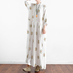 Vintage White embroidered linen dresses long plus size caftans oversized gown