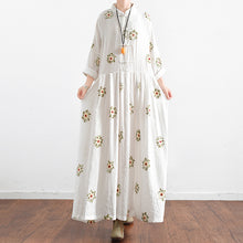 Load image into Gallery viewer, Vintage White embroidered linen dresses long plus size caftans oversized gown