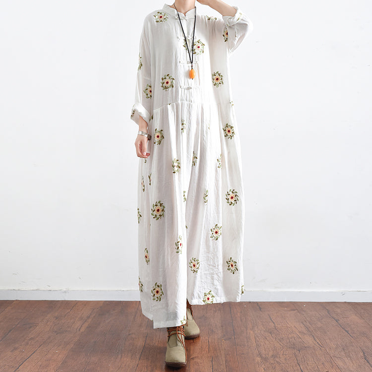 f7fe57d95fc ... Vintage White embroidered linen dresses long plus size caftans  oversized gown ...