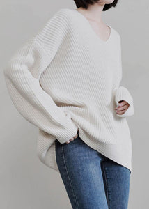 Vintage beige knit tops fall fashion v neck Batwing Sleeve knitted t shirt