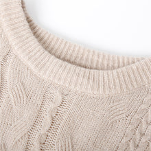 Load image into Gallery viewer, Vintage beige patchwork knitted pullover plus size stand collar knit sweat tops spring