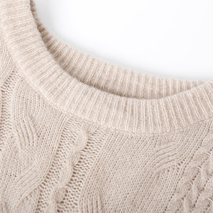 Vintage beige patchwork knitted pullover plus size stand collar knit sweat tops spring