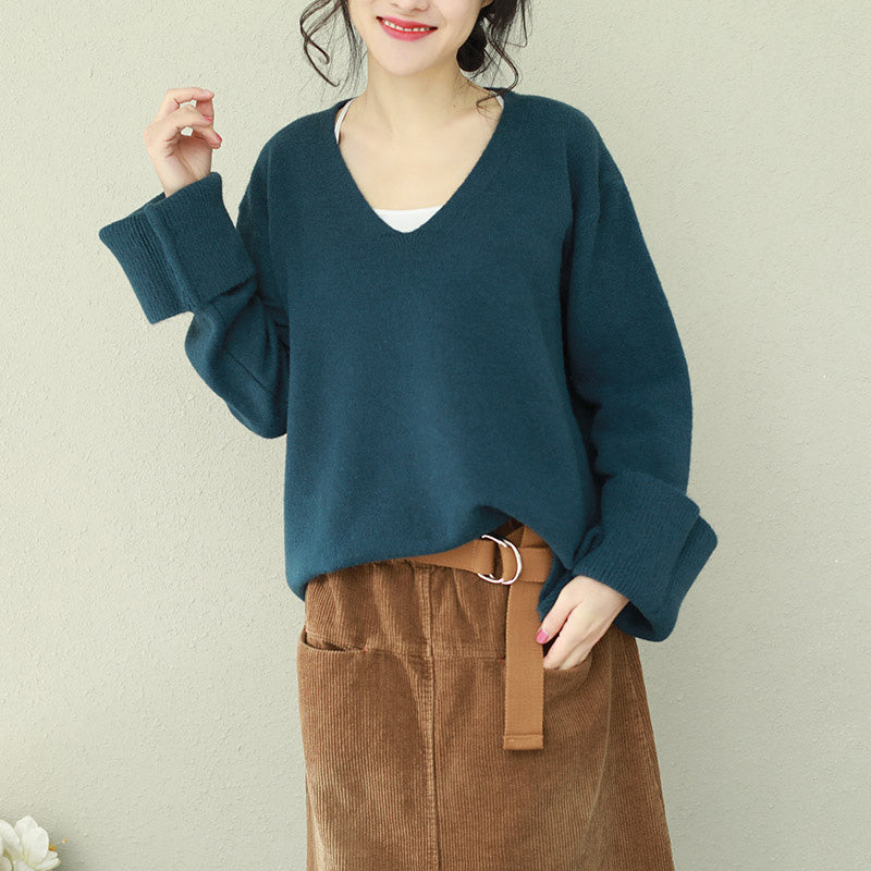 Vintage blue Sweater outfit DIY v neck Hipster knitted tops