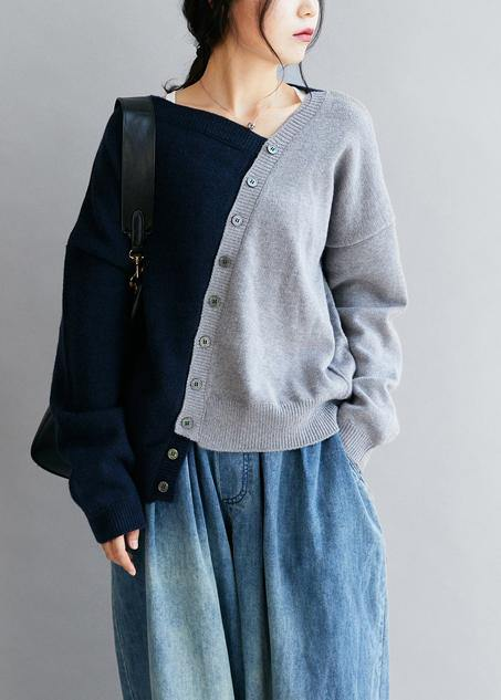 Vintage blue clothes v neck patchwork Loose fitting fall sweaters