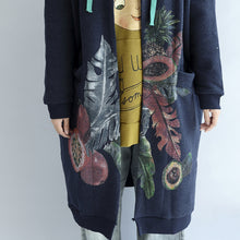 Load image into Gallery viewer, Vintage blue prints cotton cardigans plus size v neck long sleeve trench coats
