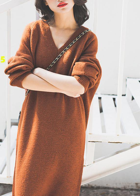 Vintage chocolate Sweater Wardrobes Street Style v neck baggy daily sweater dresses