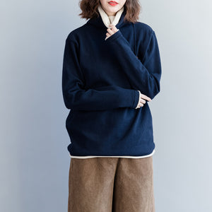 Vintage dark blue knit coats Loose fitting high neck knit sweat tops