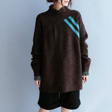 Load image into Gallery viewer, Vintage fall chocolate striped knitted blouse casual high neck knitted clothes