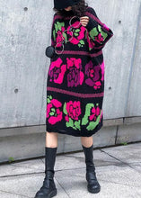 Load image into Gallery viewer, Vintage floral Sweater dress outfit Vintage stand collar Hole baggy knitwear