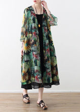 Load image into Gallery viewer, Vintage green print oversized v neck baggy cardigans