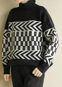 Vintage high neck black knit tops plus size clothing wild sweater tops
