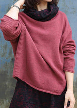 Load image into Gallery viewer, Vintage high neck red sweaters plus size long sleeve clothes For Women