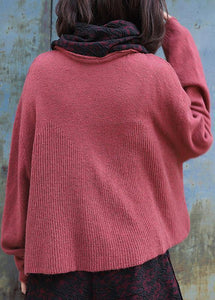 Vintage high neck red sweaters plus size long sleeve clothes For Women