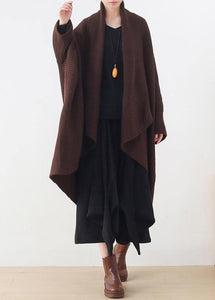 Vintage knit sweat tops casual chocolate v neck Batwing Sleeve coats
