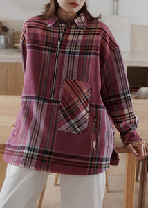 Vintage plaid woolen sweater female winter Korean version of the loose warm top