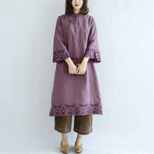 Load image into Gallery viewer, Vintage purple spring dresses long linen dress plus size linen caftans gown