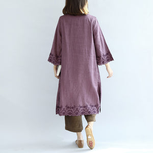 Vintage purple spring dresses long linen dress plus size linen caftans gown
