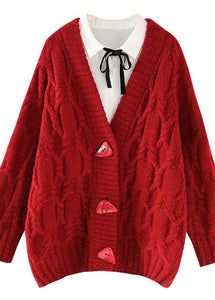 Vintage red knitted outwear casual spring v neck Button knit outwear
