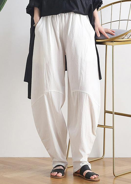 Vintage white cotton and linen loose casual trousers Zen lantern pants