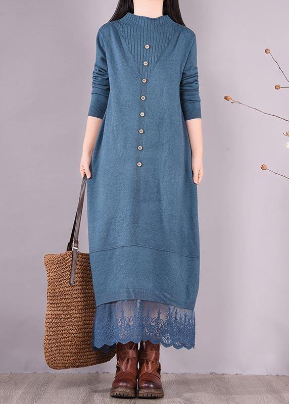 Vivid Blue Tunics O Neck Patchwork Lace Spring Dress
