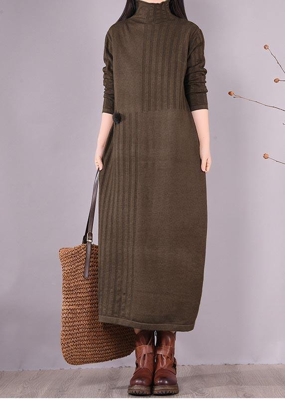 Vivid High Neck Spring Clothes Women Photography Chocolate Dress