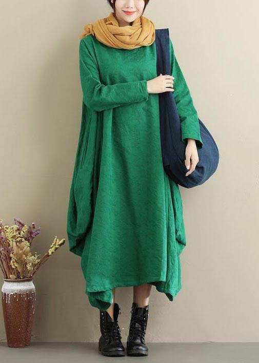 Vivid O Neck Asymmetric Spring Dress Sewing Green Jacquard Maxi Dresses