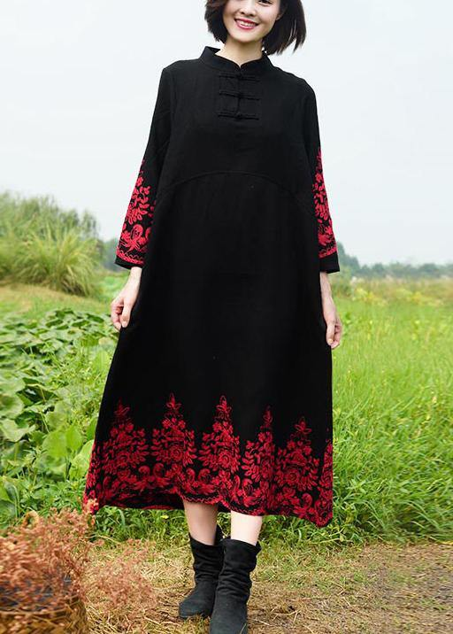 Vivid Stand Collar Spring Tunics Work Black Embroidery Long Dresses