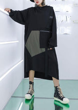 Load image into Gallery viewer, Vivid big pockets cotton Tunics Sewing gray green loose Dresses fall