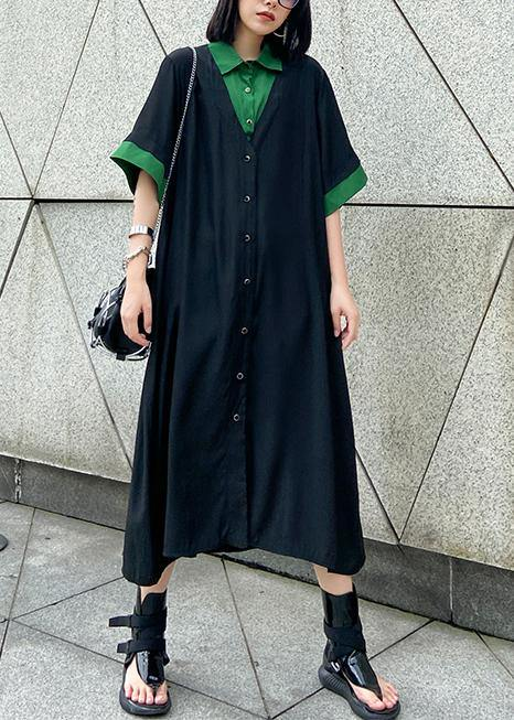 Vivid black cotton clothes Women lapel Button Down Maxi summer Dress